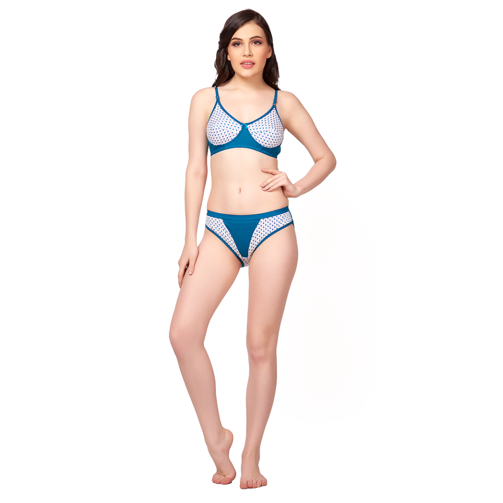 Pretty and Passionate non-padded hosiery material decent look Bikini Set-BAHAMA BLUE