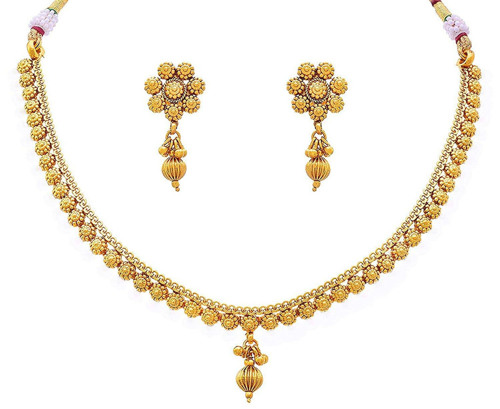 BFC- Ethnic Stylish Gold Plated Thin Necklace Set For Woman and Girls