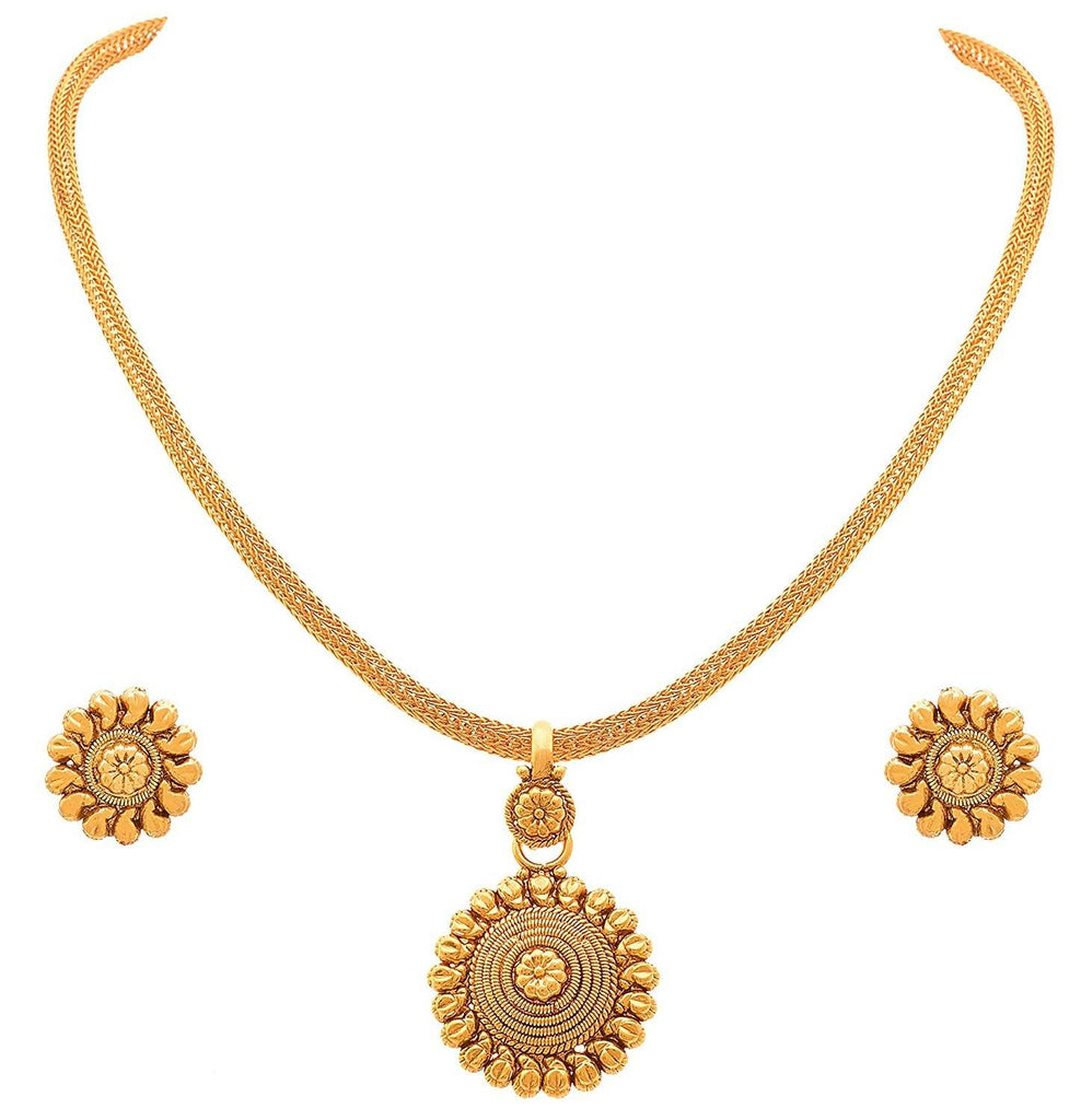 Jfl - Jewellery For Less Traditional Ethnic One Gram Gold Plated Pendant Necklace Set For Women