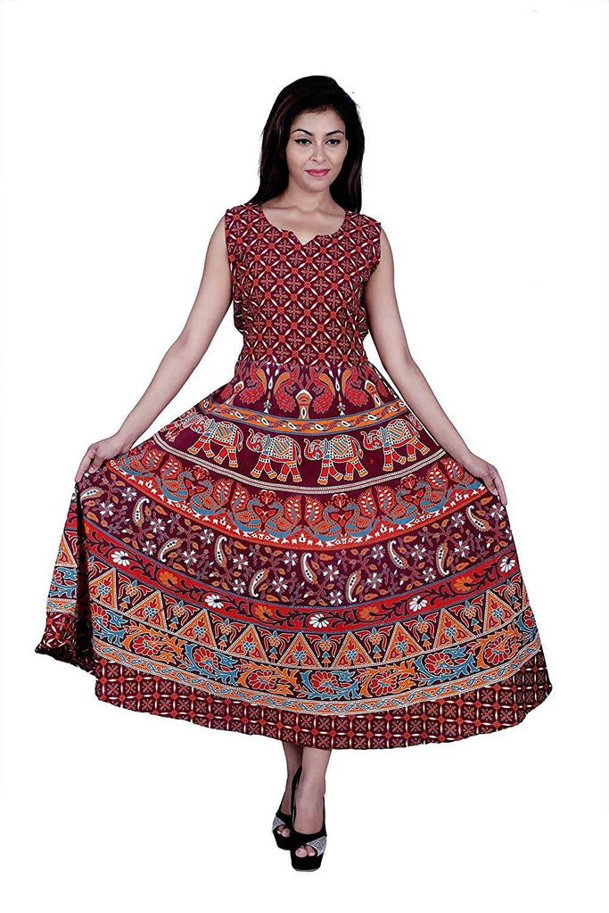 Dhruvi Casual Wear Maroon Animal Print Cotton Maxi Dress for Women Jaipuri Print Dress (Free Size up to XXL)
