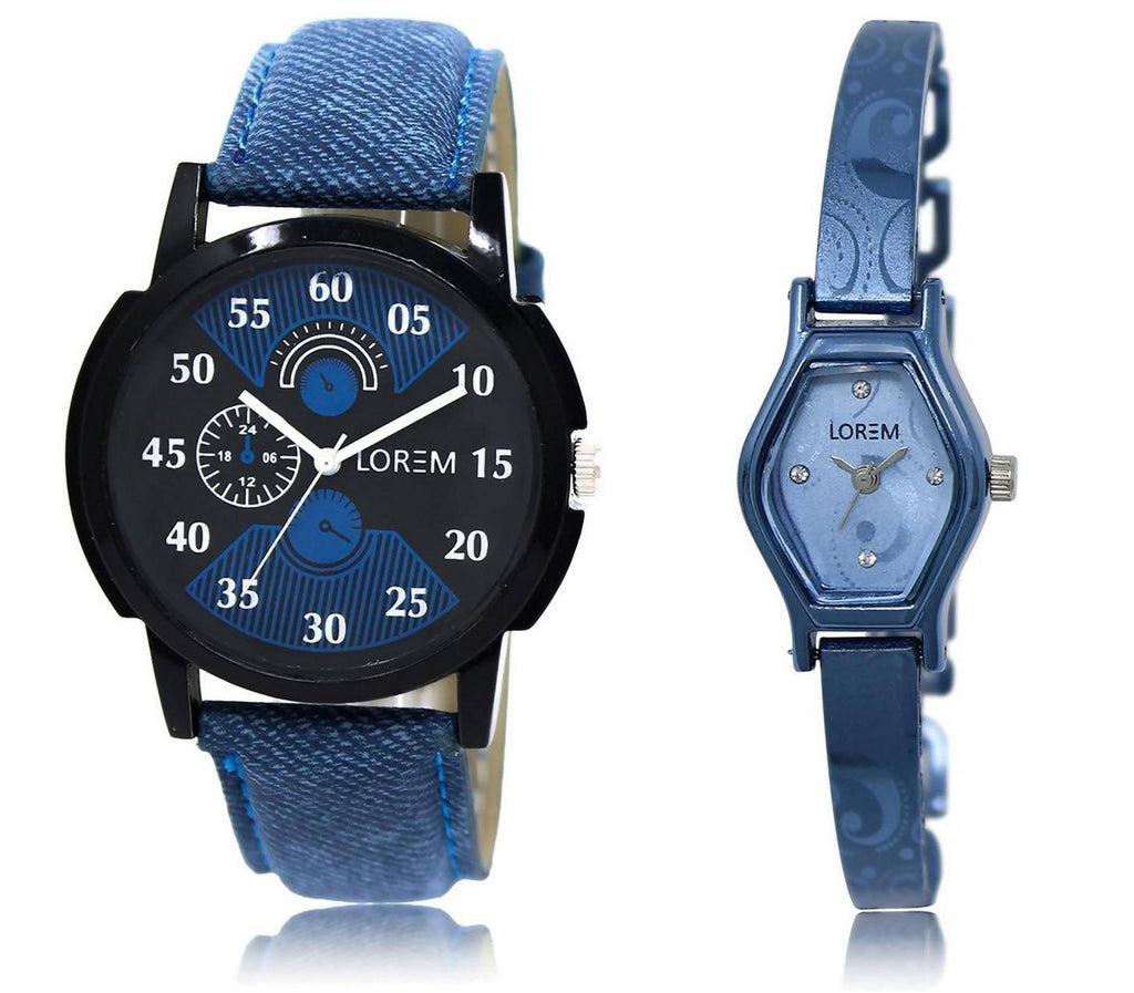LOREM LR2-218 Stylish Blue & Black Contemporary & Round Boy's & Girl's Metal Bracelet & Leather Watch - For Men & Women