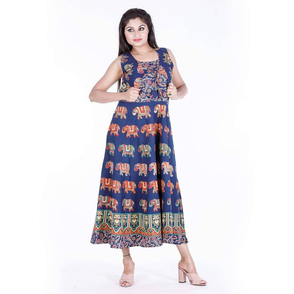 DHRUVI Party Free Size Rajasthani Print Long Cotton Maxi Dress for Women (with Front Jacket, up to XXL Size)