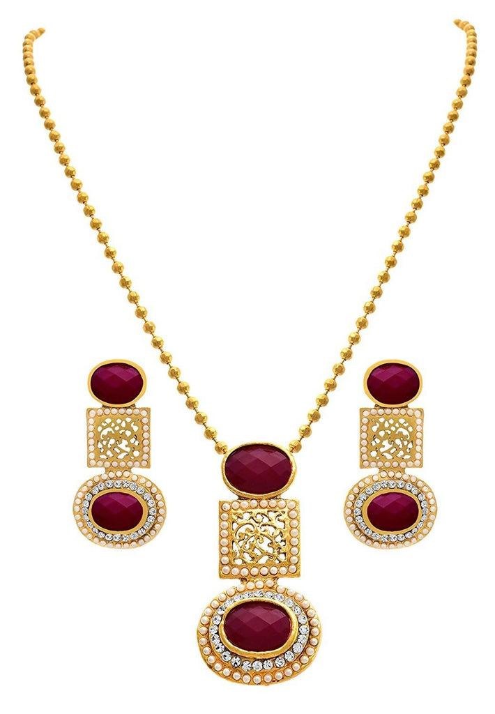 JFL - Traditional Ethnic One Gram Gold Plated Diamond & Pearl with Red Stone Designer Pendant Set for Women & Girls.