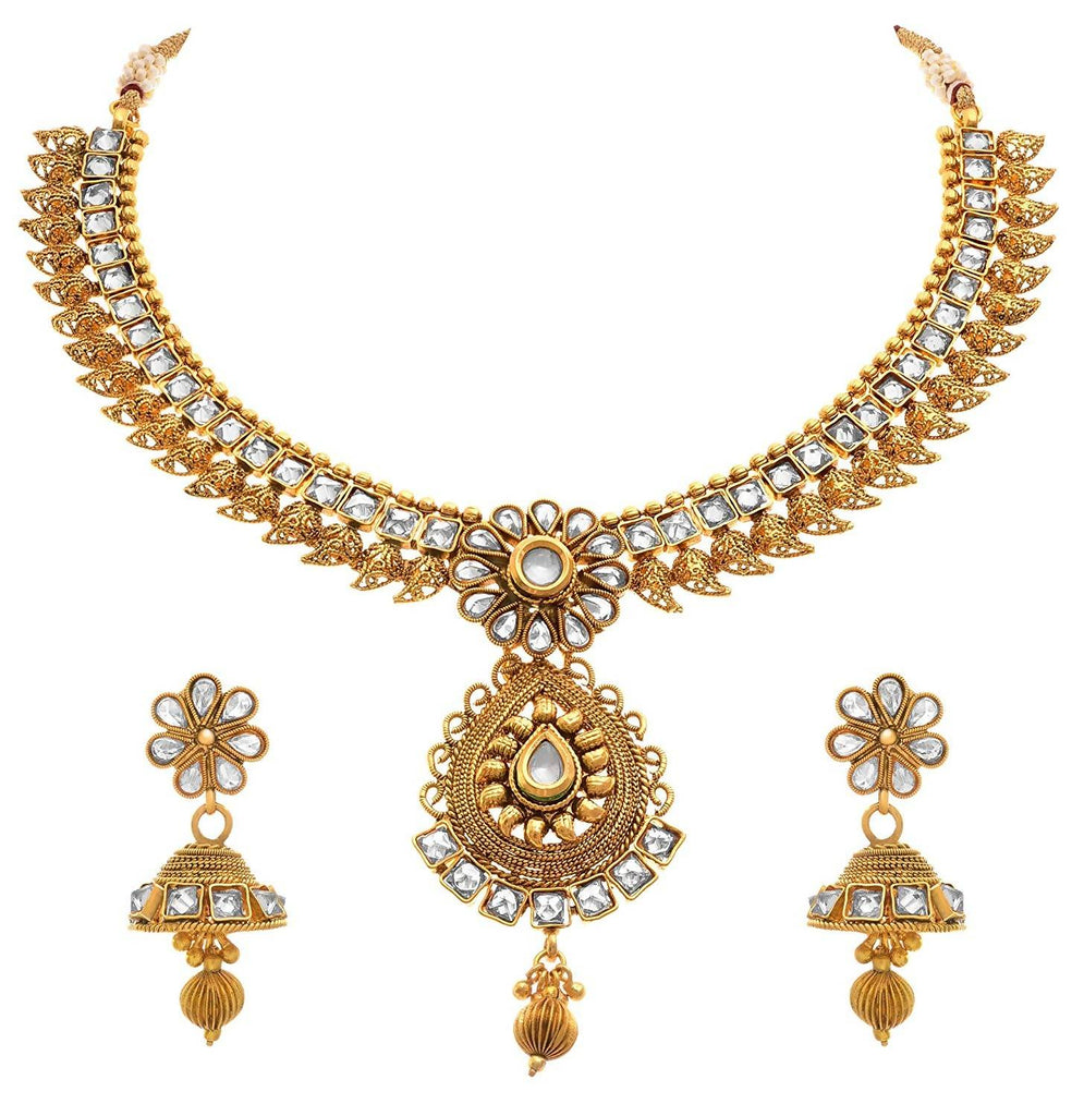 JFL - Traditional Ethnic One Gram Gold Plated Kundan Polki Designer Necklace Set/Jewellery Set for Women & Girls