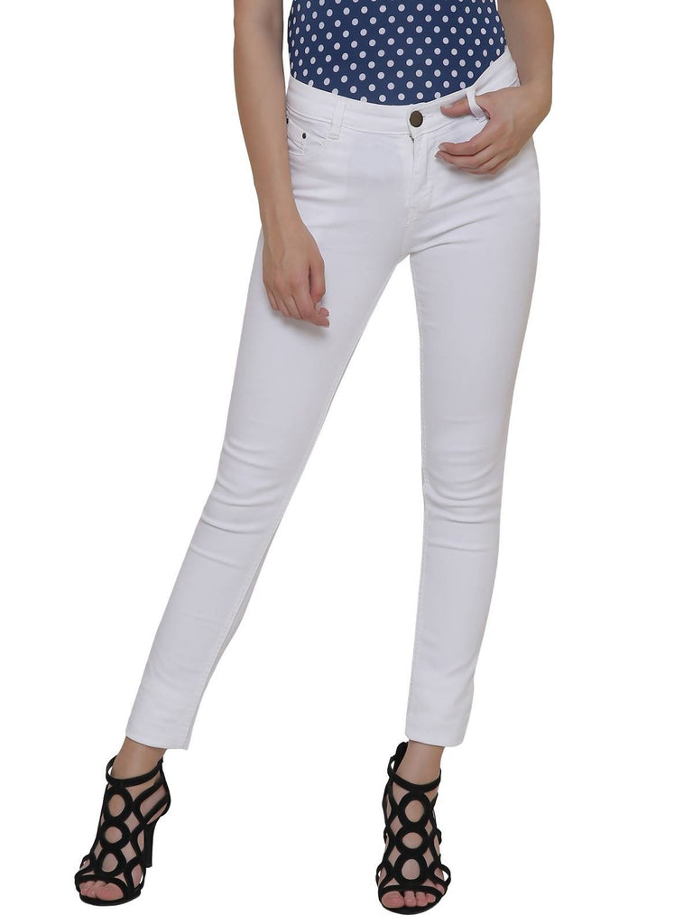 Glory, Women Skinny Fit, White, Dobby Denim Jeans