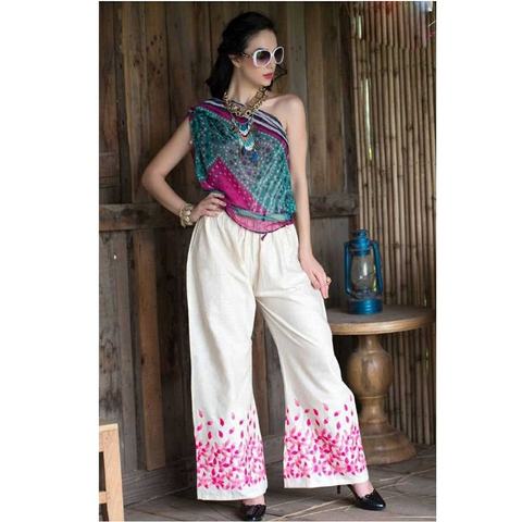 Color Threads Pink Base Embroidered Palazzo