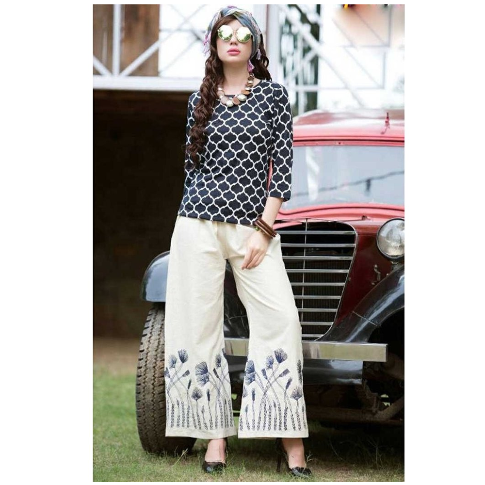 Color Threads Embroidered Palazzos for Casual Wear