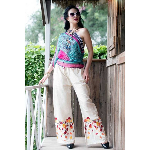 Color Threads Stylish Embroidered Palazzos for Casual Wear