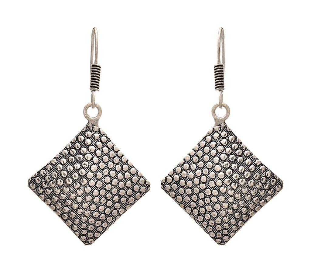 JFL - Traditional Ethnic Handmade German Silver Plated Oxidised Square Design Earring For Women & Girls.