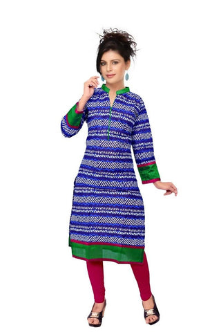 State Blue & Red Kurtis Quality Cotton Cambric Print