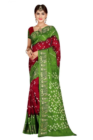 HARSHITA CREATION ART SILK RED & GREEN HAND WOWEN BANDHANI SAREE