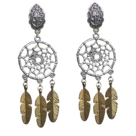 Base Metal Fashion 2 Tone,Gold Oxidise Earring