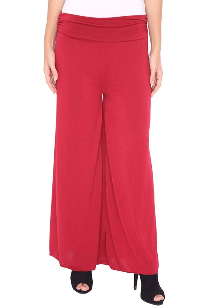 DAMEN MODE Women's Viscose Palazzo - DMSP5000_Red_Free Size