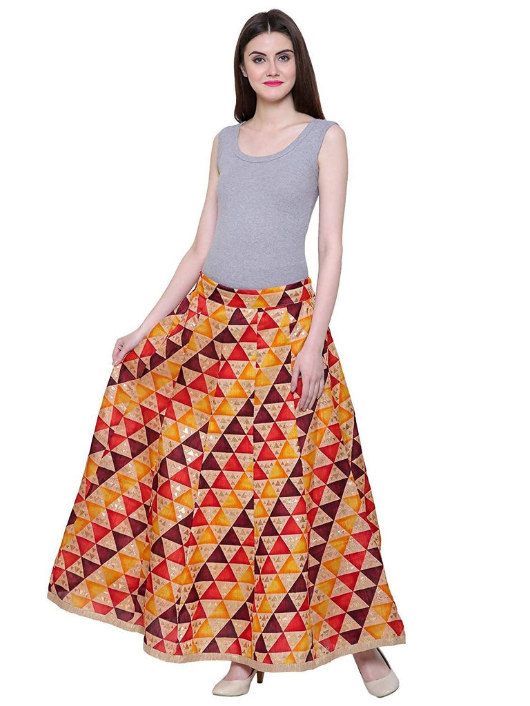DAMEN MODE Women's Silk Flair Printed Skirt