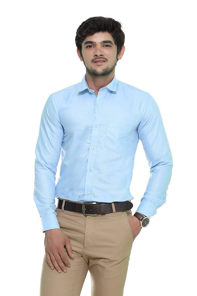Nimegh Sky Blue Colored Cotton Casual Solid Shirt For Men