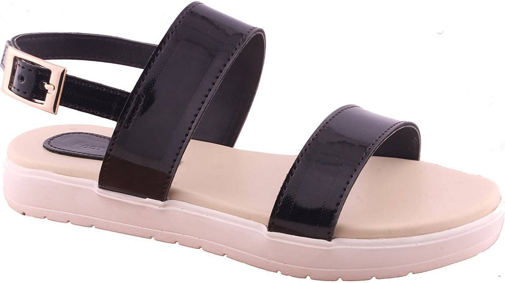foot wagon Black Sandals with White Sole |Flats | Ladies Slippers |Girls Slippers