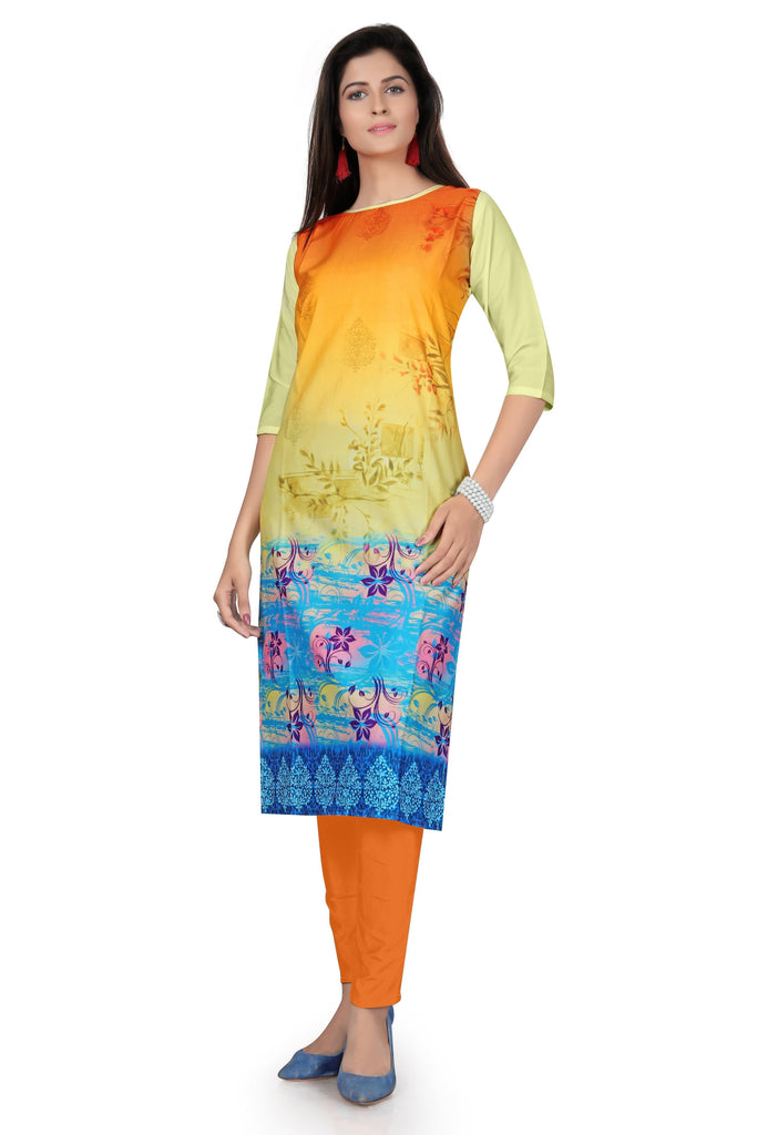 Harshita Creation Yellow & Blue Color American Crepe Printed Casual Kurti For Women
