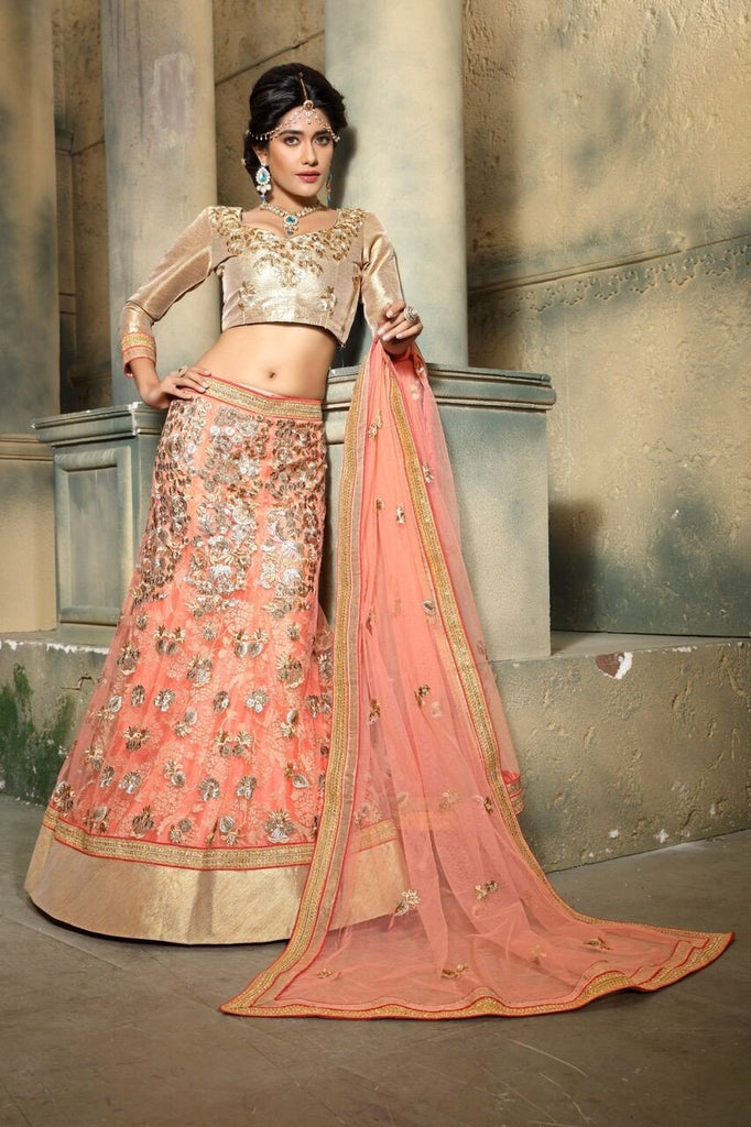 Aasvaa Bosting Women's Embroidered Net Lehenga Choli With Un-Stitched Blouse (MIRNA85_Peach_Free Size)