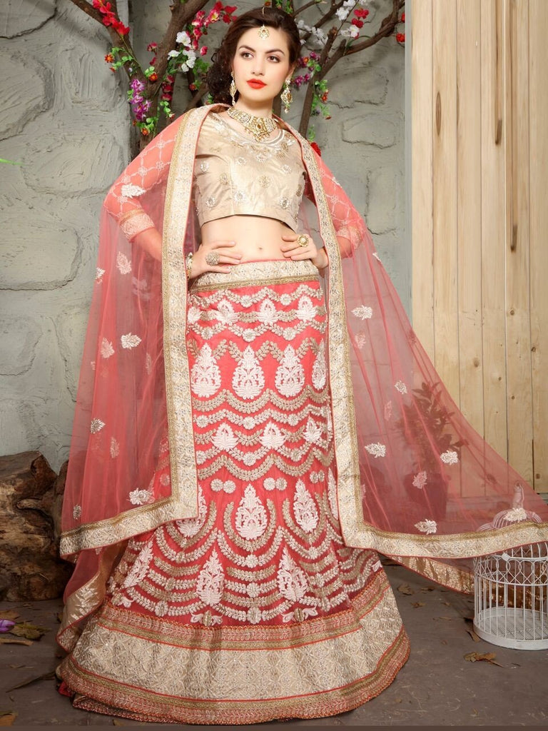 Aasvaa Excellent Women's Embroidered Net Lehenga Choli With Un-Stitched Blouse (MIKLA60A_Palevioletred_Free Size)