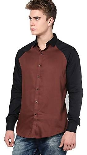 Alvin Kelly Solid Brown Printed Color Casual Men's Shirt