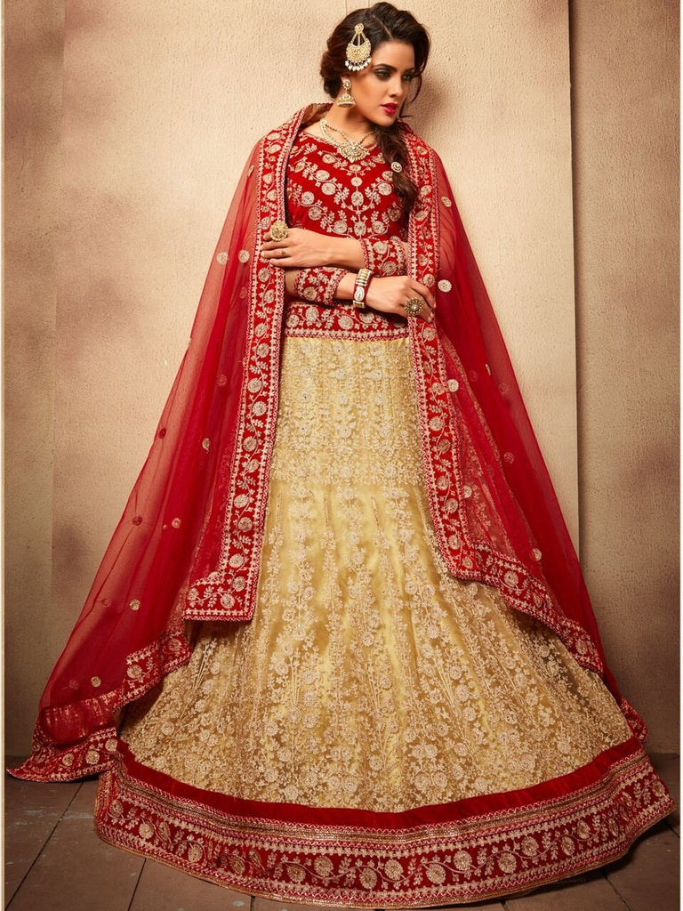 Aasvaa Beautiful Women's Embroidered Net Lehenga Choli With Un-Stitched Blouse (NMMJA7007B_Beige And Red_Free Size)