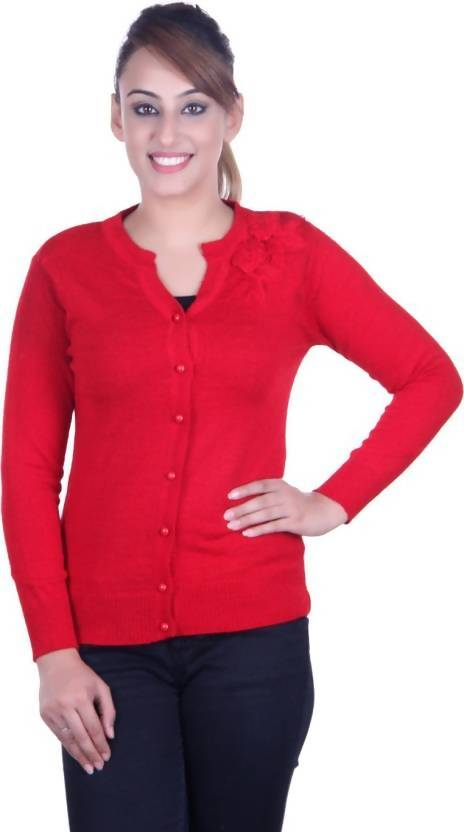 Ogarti Women's Button Solid Cardigan