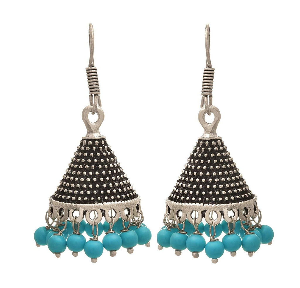 JFL - Traditional Ethnic Handmade German Silver Plated Oxidised Bead Designer Dangle & Drop Earring For Women & Girls.