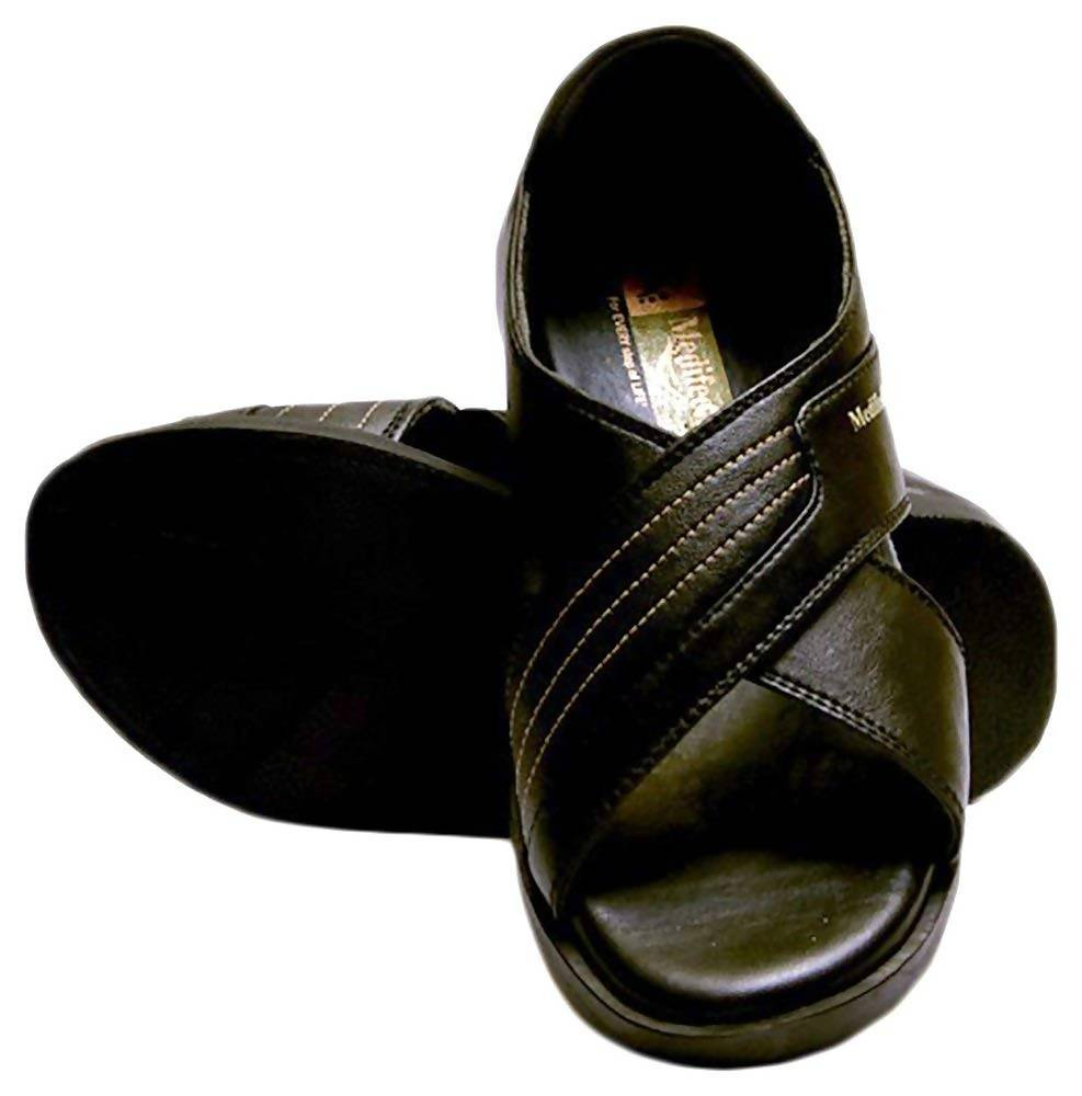 Medifeet Men's Black Synthetic Ortho and Diabetic Health Sandals - 7 UK