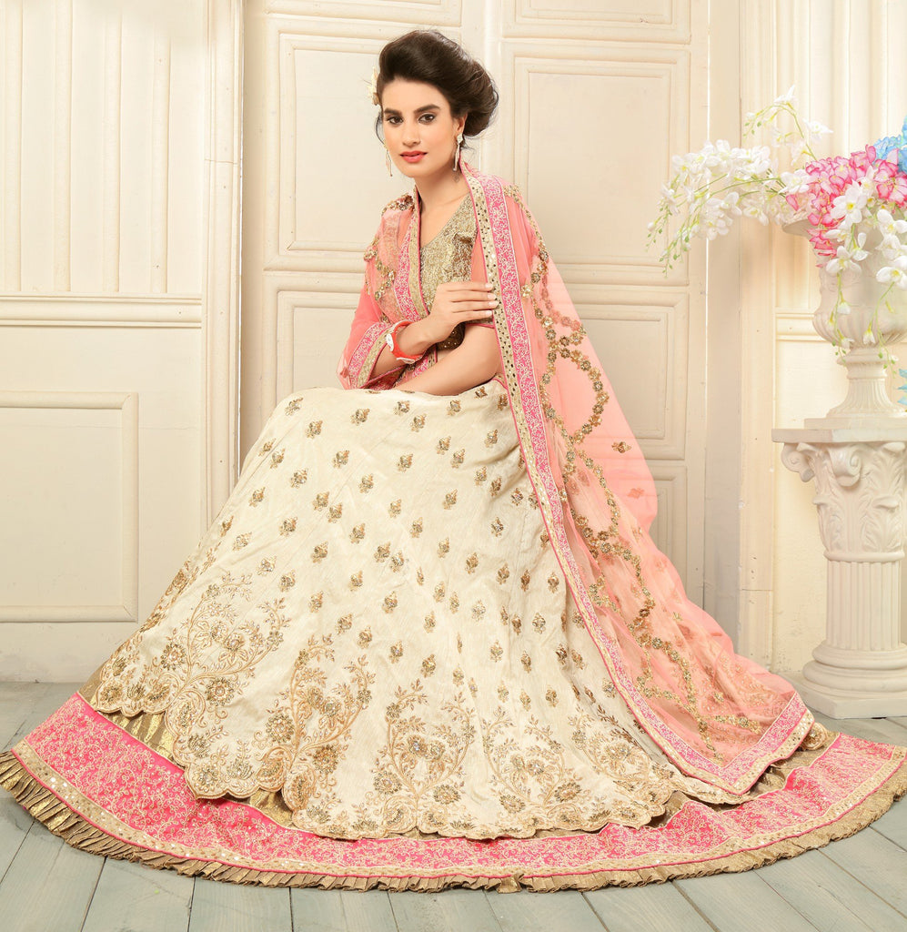 Aasvaa Fancy Women's Embroidery, Stone Bangalori Silk Lehenga Choli With Un-Stitched Blouse (NMMYA440_Beige_Free Size)