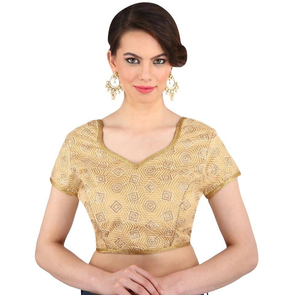 Melluha Satin Stitched Customizable Blouse with Cotton Inner and sleeves