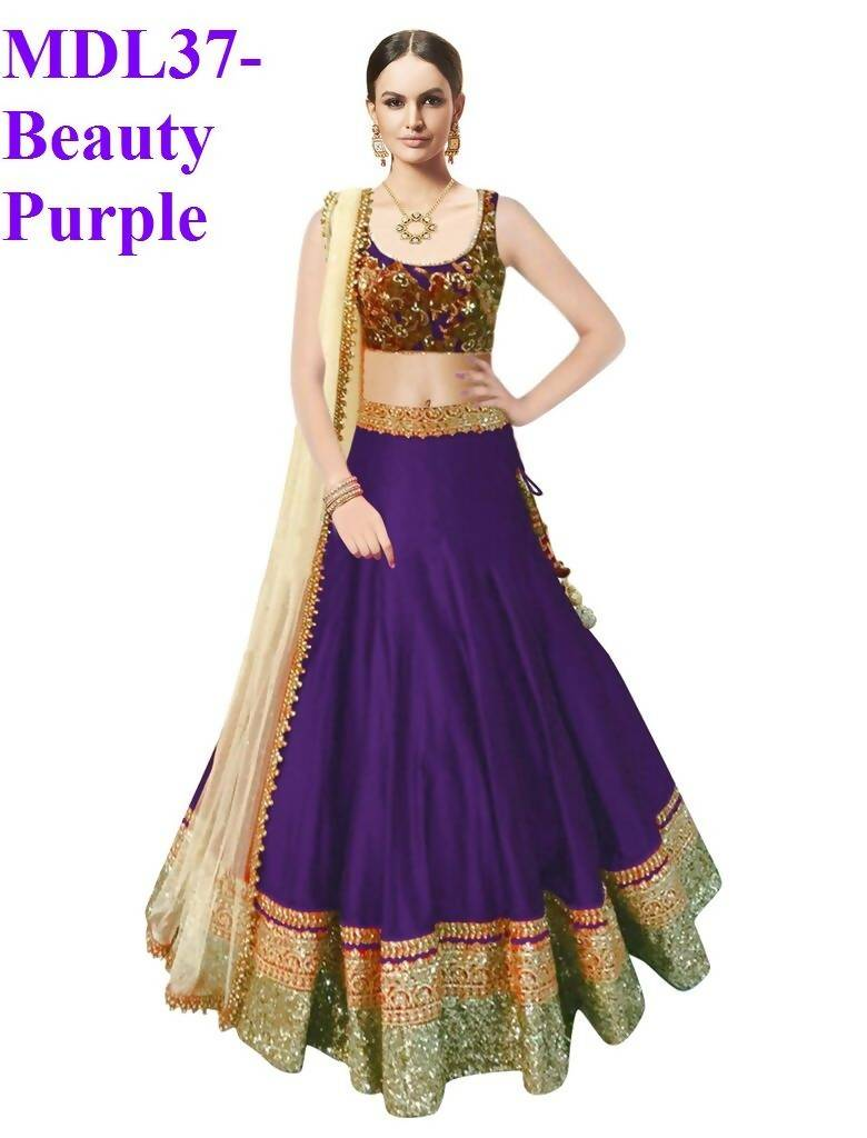 Madhav design Embroidered Semi Stitched Lehenga, Choli and Dupatta Set  (Purple)