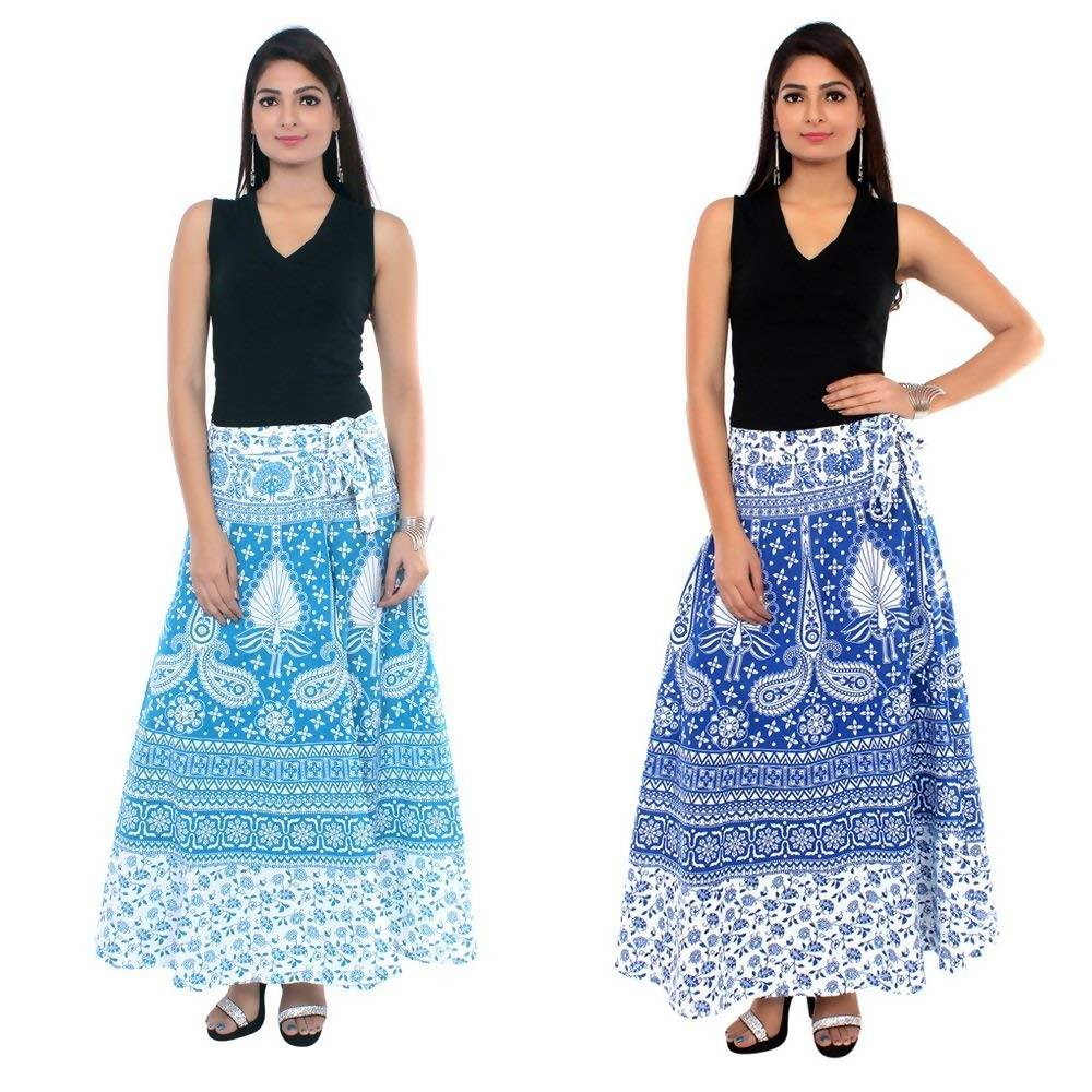 Dhruvi Combo Cotton Peacock Print Jaipuri Print Casual Wear Wrap Skirt in Free Size for Women (Sea Greenand Blue, Size- S-XXL)