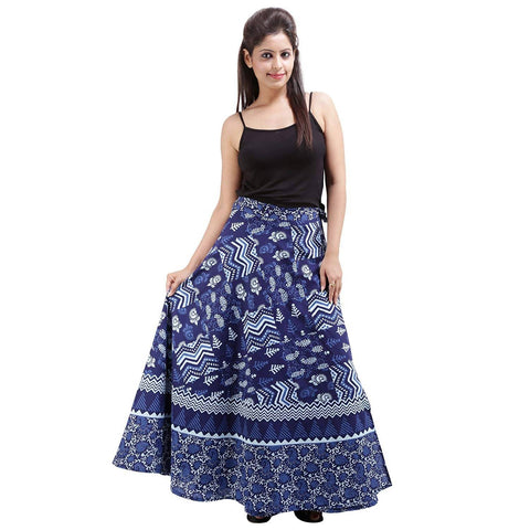 DHRUVI Casual Wear Free Size Floral Print Wrap Around Around Rajasthani Skirt (Blue & White)