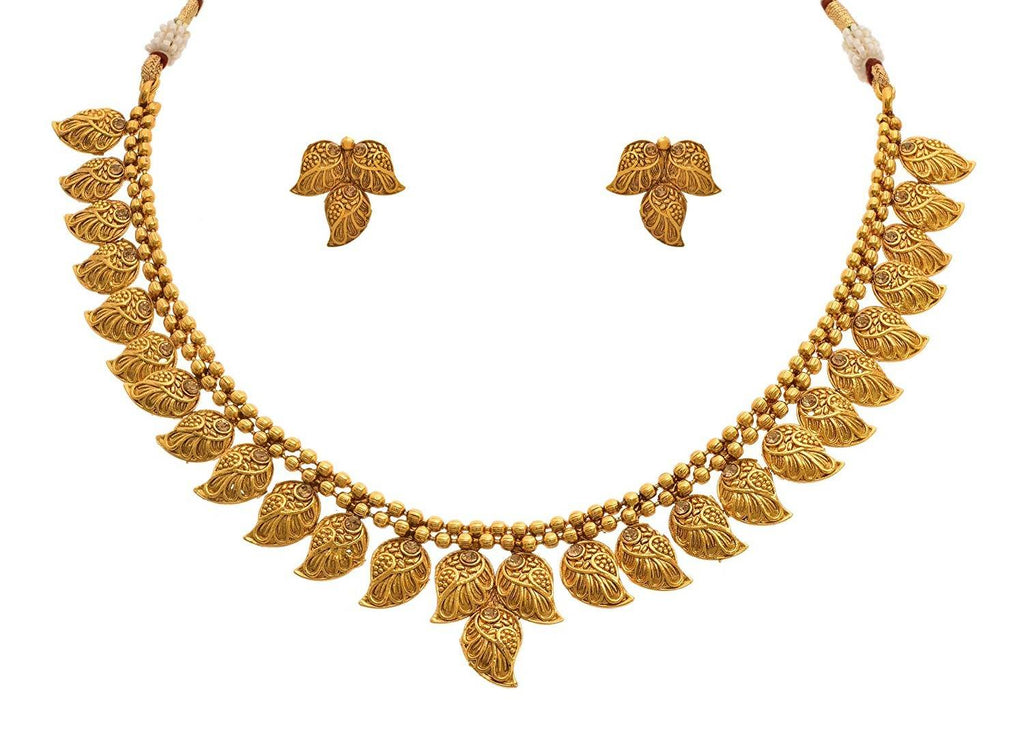 JFL - Jewellery for Less Traditional Ethnic Designer Gold Plated Diamond Necklace Set with Earrings for Women and Girl's(1g)