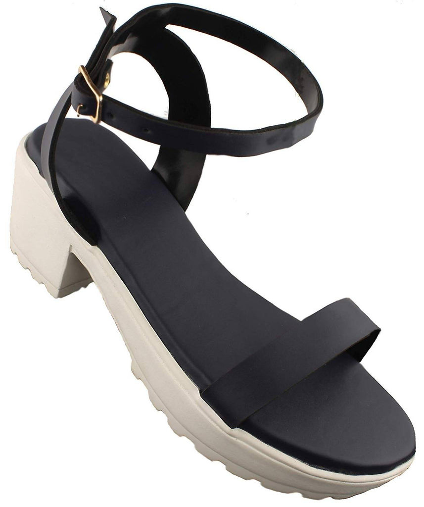 Foot Wagon Navy Blue Strap Block Heel |White Block Heels| Block Heels|Straps Footwear| Heels |Ladies Sandal |Buckle Strap at Ankle|Straps|Women Heels | Ladies Slippers |Girls Slippers | Chappals|
