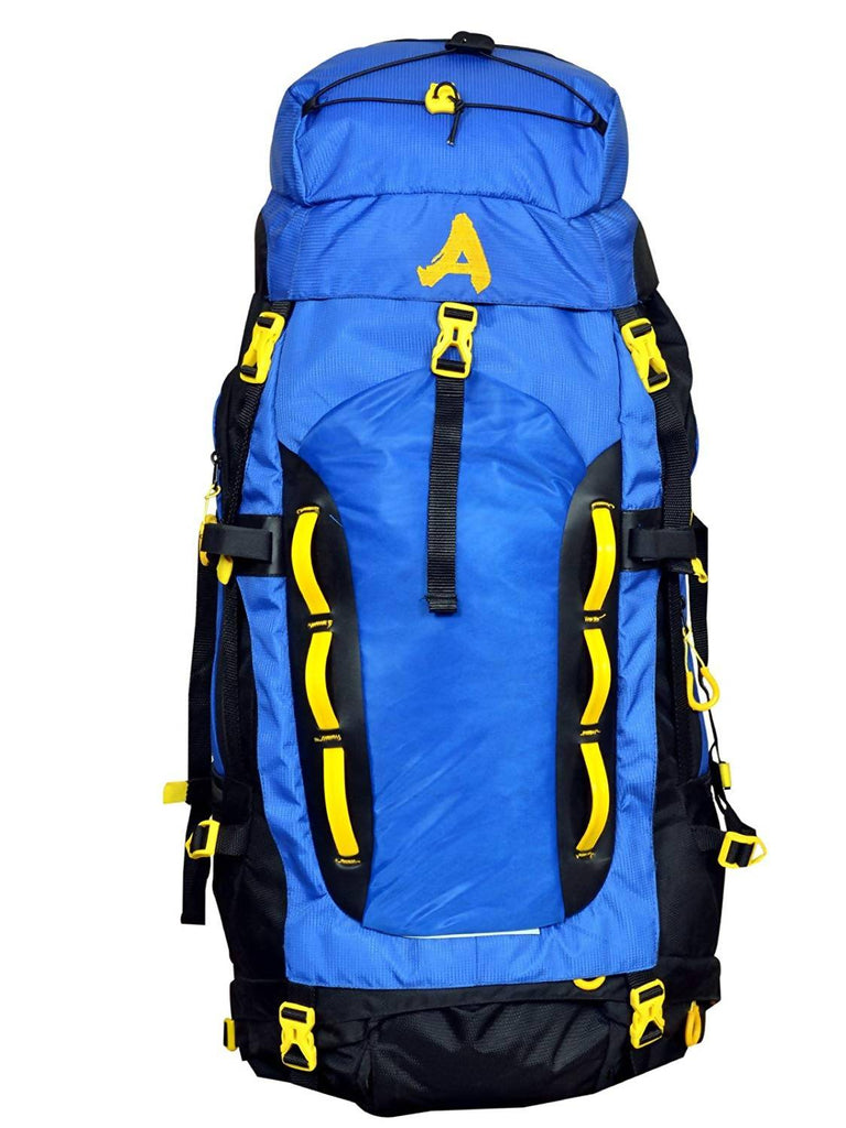 Attache Robust Rucksack, Hiking Backpack 75Lts Blue & Black With Rain Cover