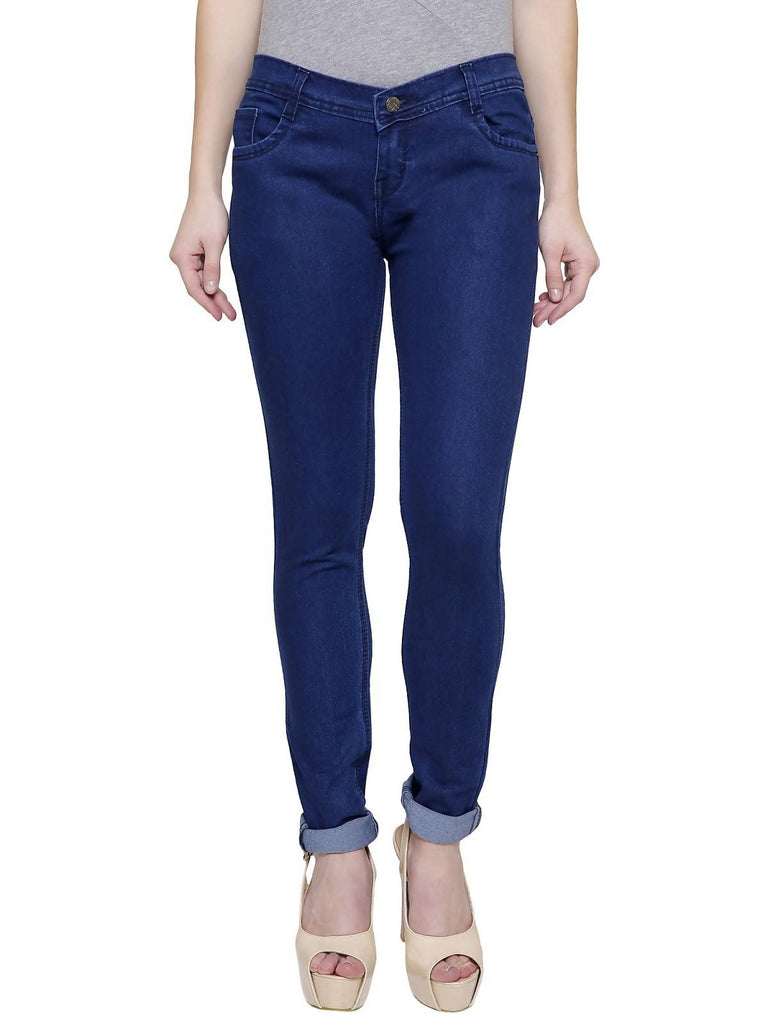 Pavis, Women Skinny Fit, Navy Blue, Silky Denim Jeans
