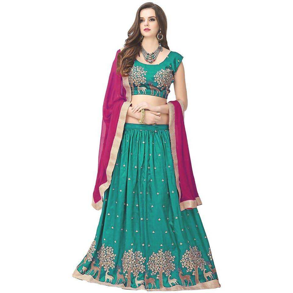 Madhav Design Hiran Firozi Lehenga Embroidered Semi Stitched Lehenga, Choli and Dupatta Set (Firozi)t