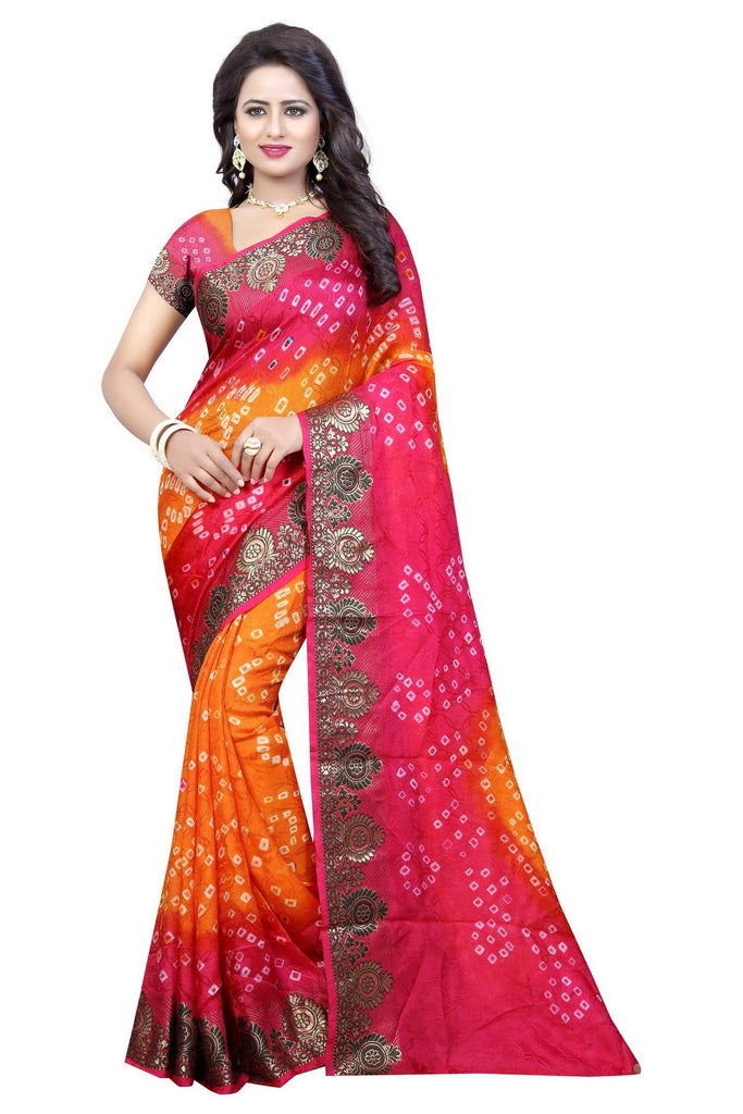 HARSHITA CREATION ART SILK YELLOW & PINK HAND WOWEN BANDHANI SAREE