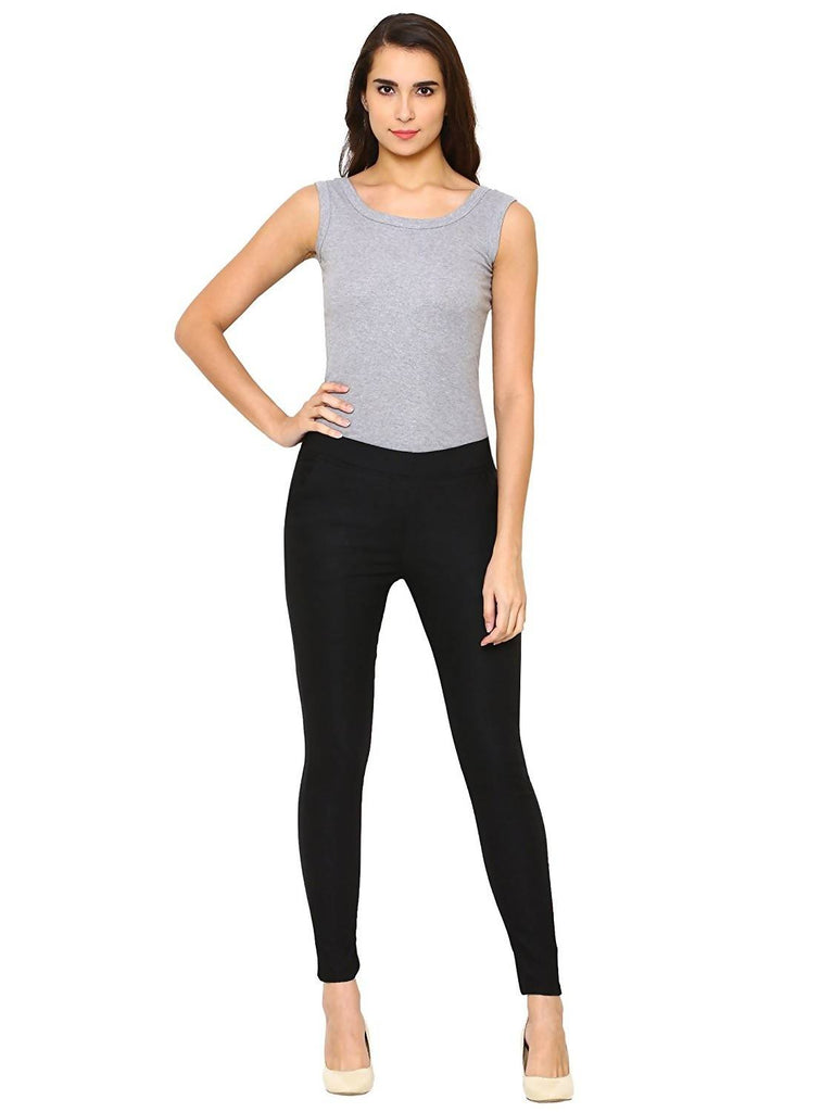 DAMEN MODE Black Spandex Cotton Lycra Elastic Jeggings