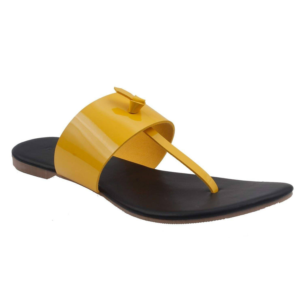 Black Leather Flats | Classy Ladies Slippers |Formal Ladies Flats | Yellow Strap SDL-86 | Chappal | Footwear for Ladies | Flats | Slipper for Women