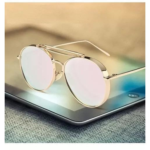 Rose Golde Aviator Round Type Sunglasses For Men
