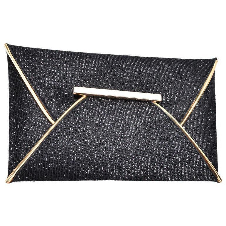 Black handbag luxury shiny envelope clutch bag glitter ladies hand bags wedding bags for women evening party