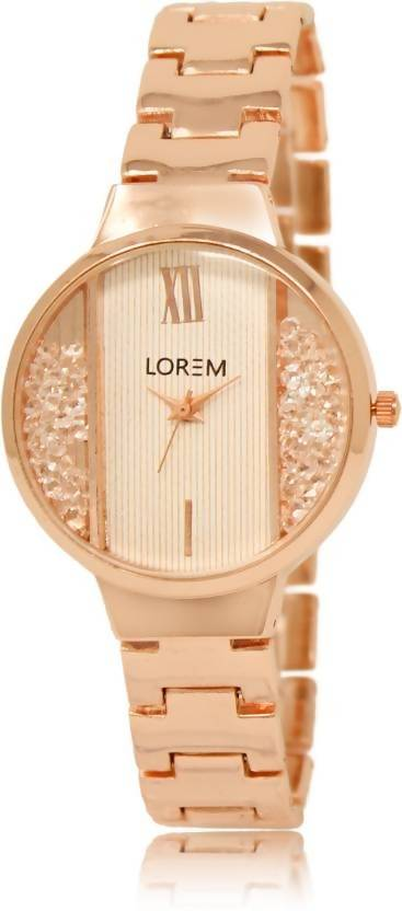 LOREM LR217 White-Rose Gold Round Diamond Studded Metal Watch - For Women