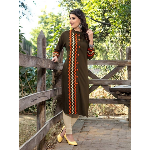 A-Line Long Rayon Kurtis for Casual Wear