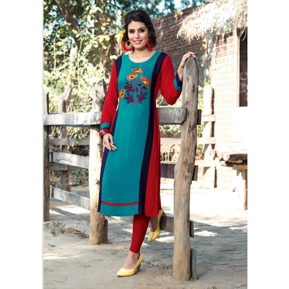 Full Sleeves A-line Kurtis for Casual Wear