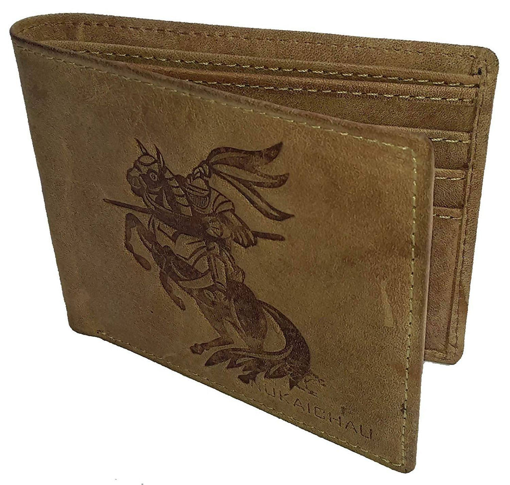 NUKAICHAU Brown Single Fold Men's Hunter Leather Wallet