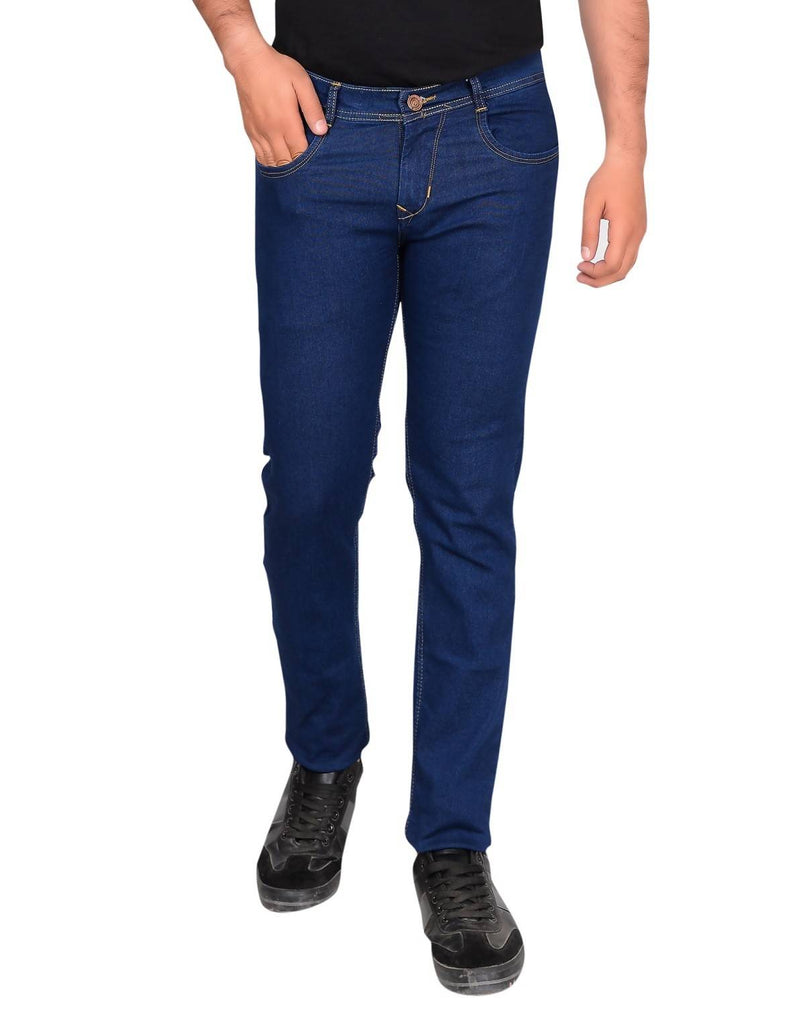 Gudlu Men's Regular Fit Navy Blue Jeans