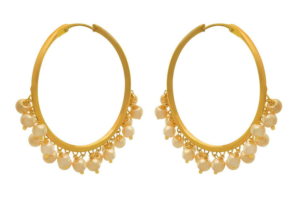 JFL - Jewellery for Less Traditional Ethnic Fusion Gold Plated Pearls Bali Earring for Women (1g)