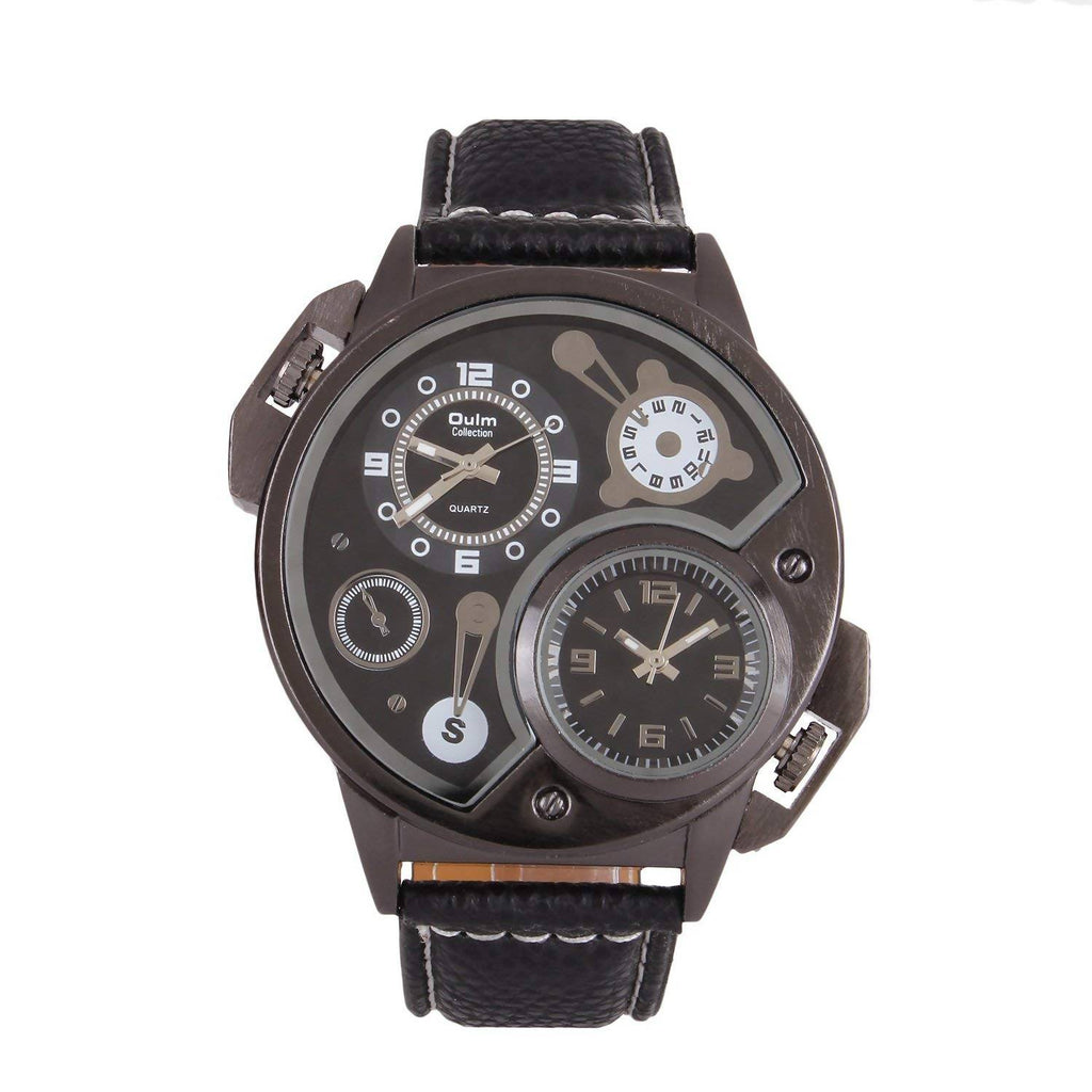 Oulm HP3578BL Multifunction Black Dial Leather Strap Wrist Watch / Casual Watch - For Men's
